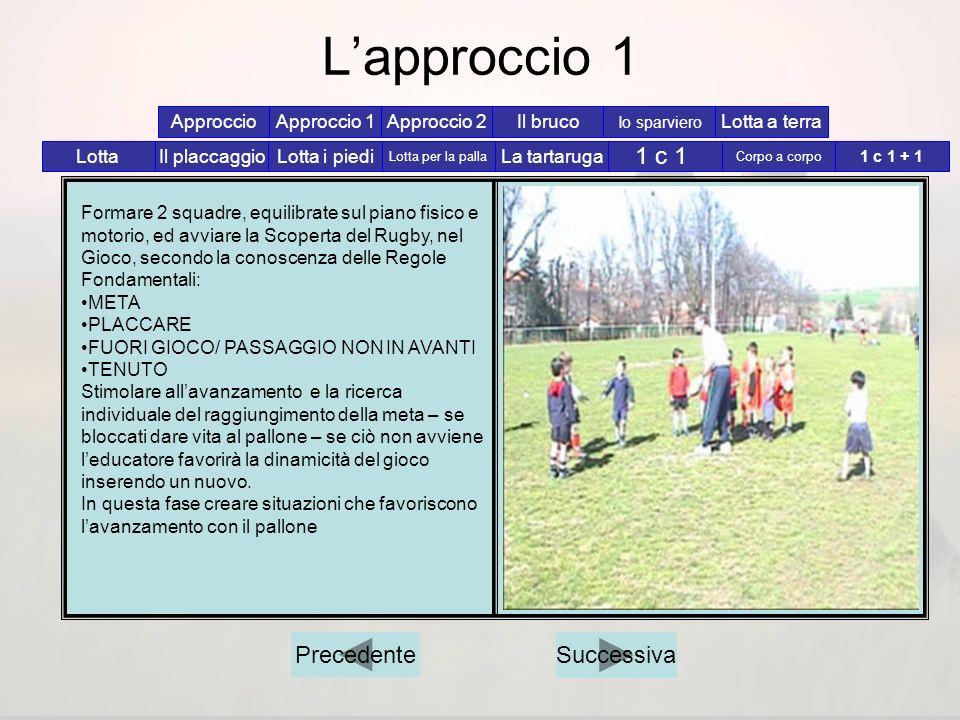 Lapproccio Formare 2 squadre, equilibrate sul piano fisico e motorio, ed avviare la Scoperta del Rugby, nel Gioco, secondo la conoscenza delle Regole
