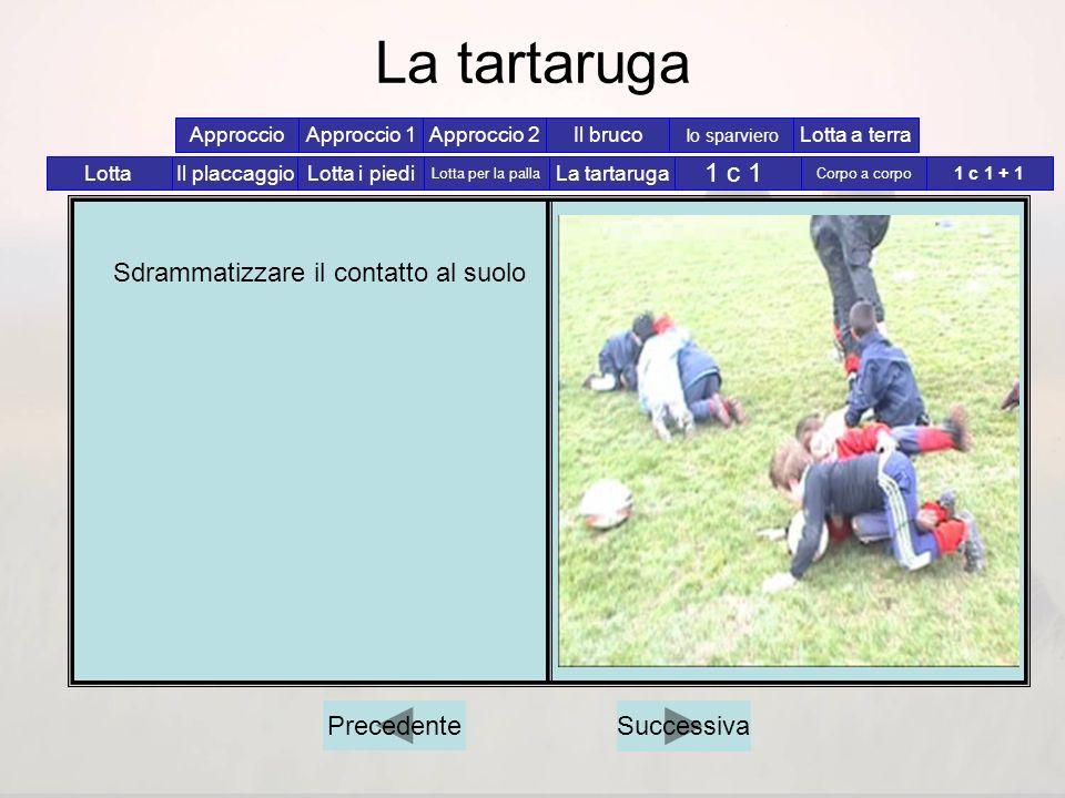 Corpo a corpo Sdrammatizzare il contatto al suolo Lotta i piedi Lotta per la palla La tartaruga 1 c 1 Corpo a corpo 1 c 1 + 1 Il placcaggioLotta Appro