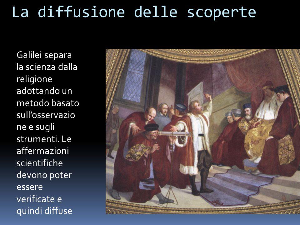 La diffusione delle scoperte Galilei separa la scienza dalla religione adottando un metodo basato sullosservazio ne e sugli strumenti.