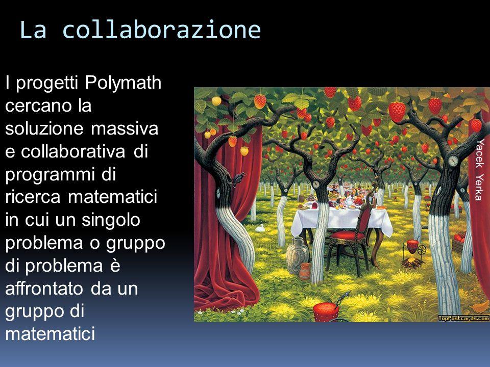 Yacek Yerka La collaborazione I progetti Polymath cercano la soluzione massiva e collaborativa di programmi di ricerca matematici in cui un singolo problema o gruppo di problema è affrontato da un gruppo di matematici