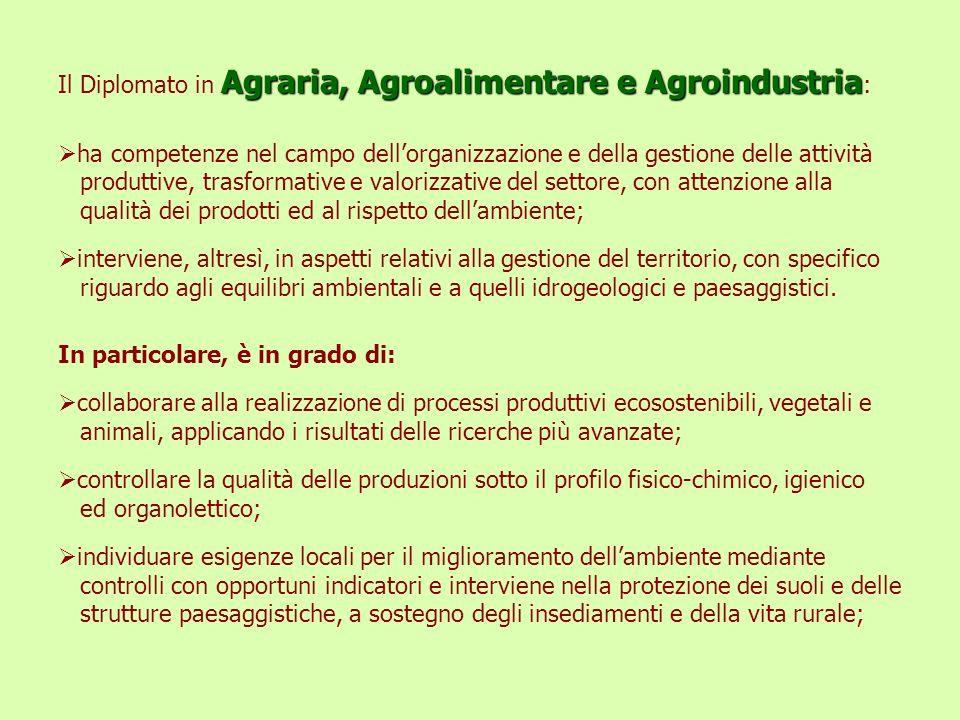 Agraria, Agroalimentare e Agroindustria Il Diplomato in Agraria, Agroalimentare e Agroindustria : ha competenze nel campo dellorganizzazione e della g