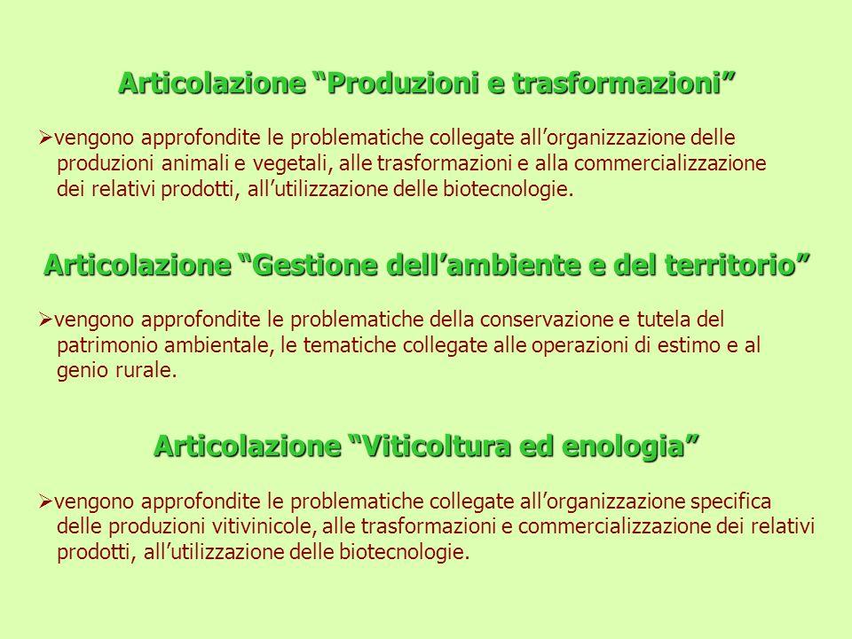 Articolazione Produzioni e trasformazioni vengono approfondite le problematiche collegate allorganizzazione delle produzioni animali e vegetali, alle