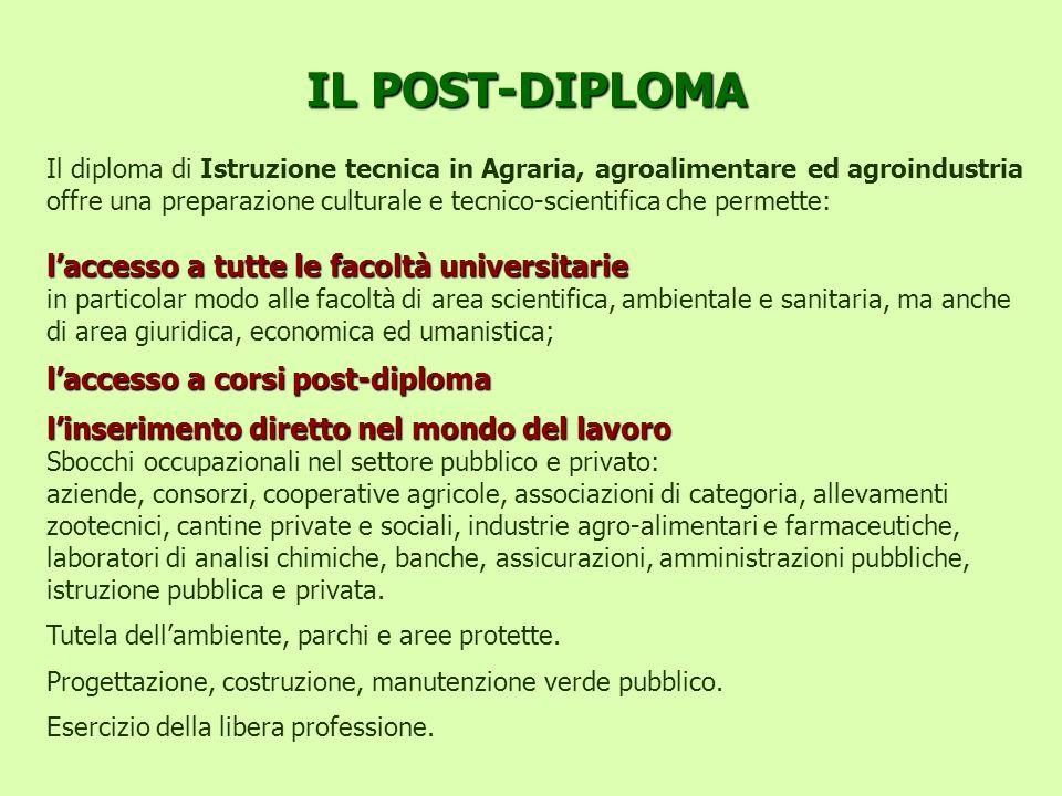 IL POST-DIPLOMA Il diploma di Istruzione tecnica in Agraria, agroalimentare ed agroindustria offre una preparazione culturale e tecnico-scientifica ch