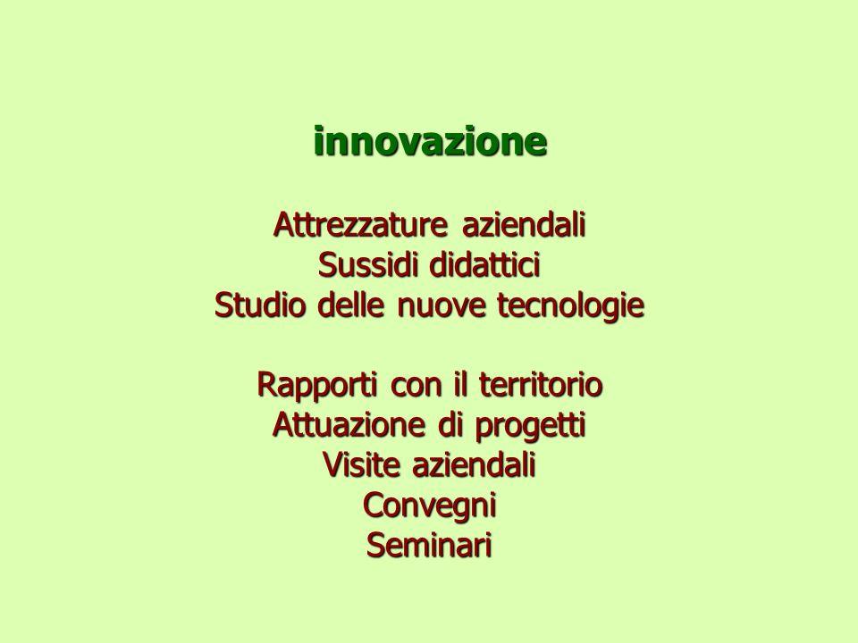 innovazione Attrezzature aziendali Sussidi didattici Studio delle nuove tecnologie Rapporti con il territorio Attuazione di progetti Visite aziendali