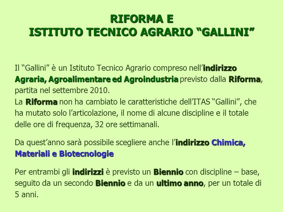 RIFORMA E ISTITUTO TECNICO AGRARIO GALLINI indirizzo Il Gallini è un Istituto Tecnico Agrario compreso nellindirizzo Agraria, Agroalimentare ed Agroin