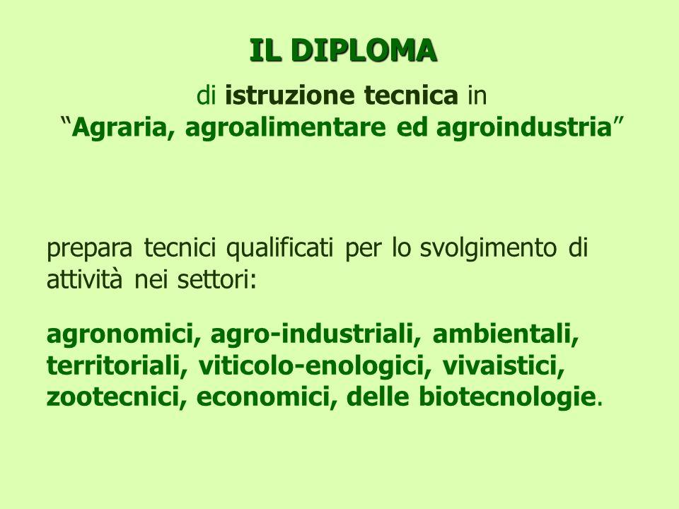 IL DIPLOMA IL DIPLOMA di istruzione tecnica inAgraria, agroalimentare ed agroindustria prepara tecnici qualificati per lo svolgimento di attività nei