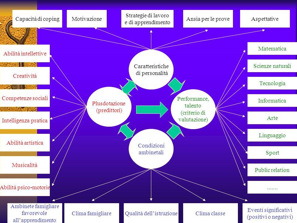 Caratteristiche di personalità Capacità di copingMotivazione Strategie di lavoro e di apprendimento Ansia per le proveAspettative Musicalità Abilità i