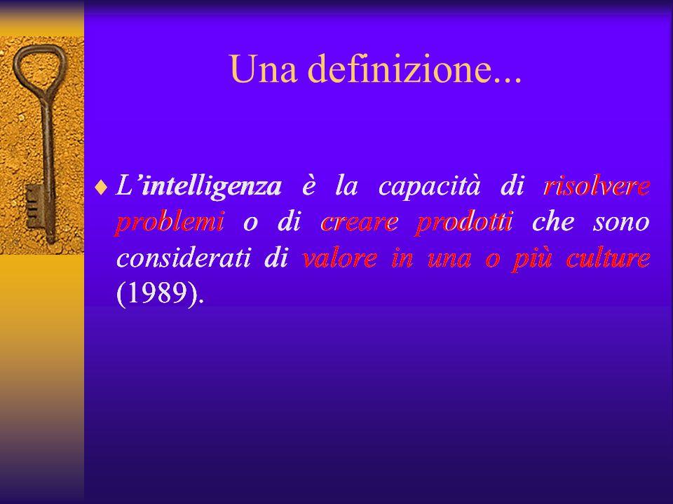 Una definizione... Lintelligenza è la capacità di risolvere problemi o di creare prodotti che sono considerati di valore in una o più culture (1989).