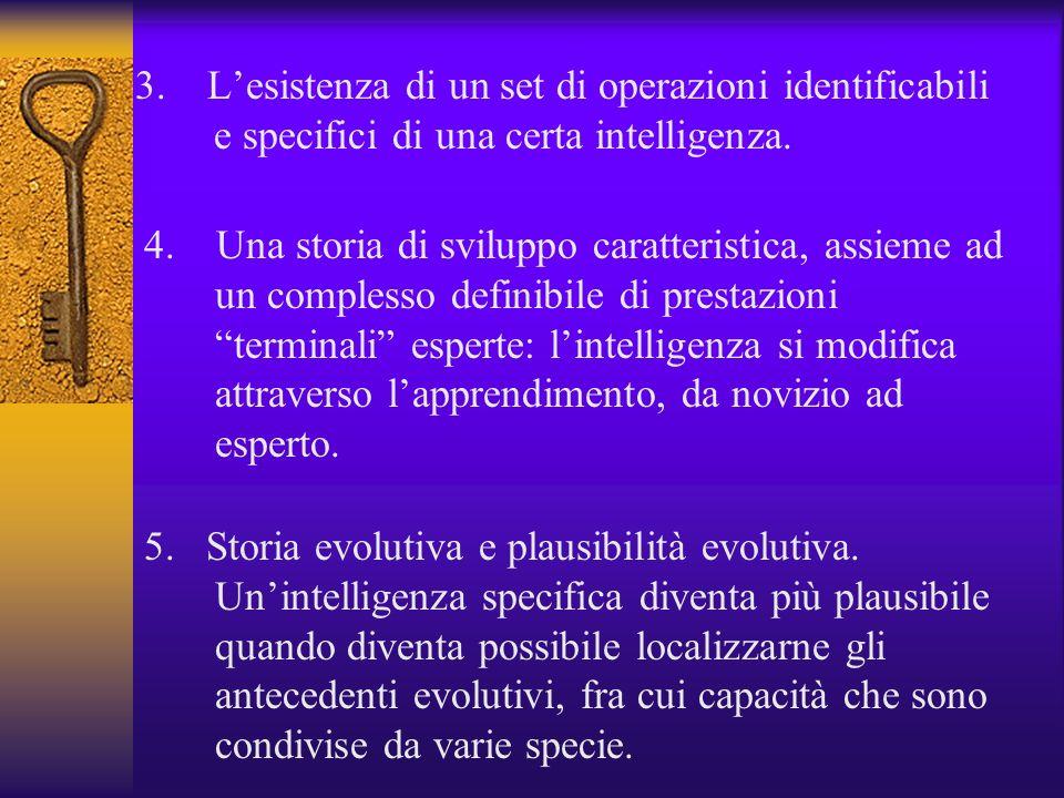 3. Lesistenza di un set di operazioni identificabili e specifici di una certa intelligenza. 4. Una storia di sviluppo caratteristica, assieme ad un co
