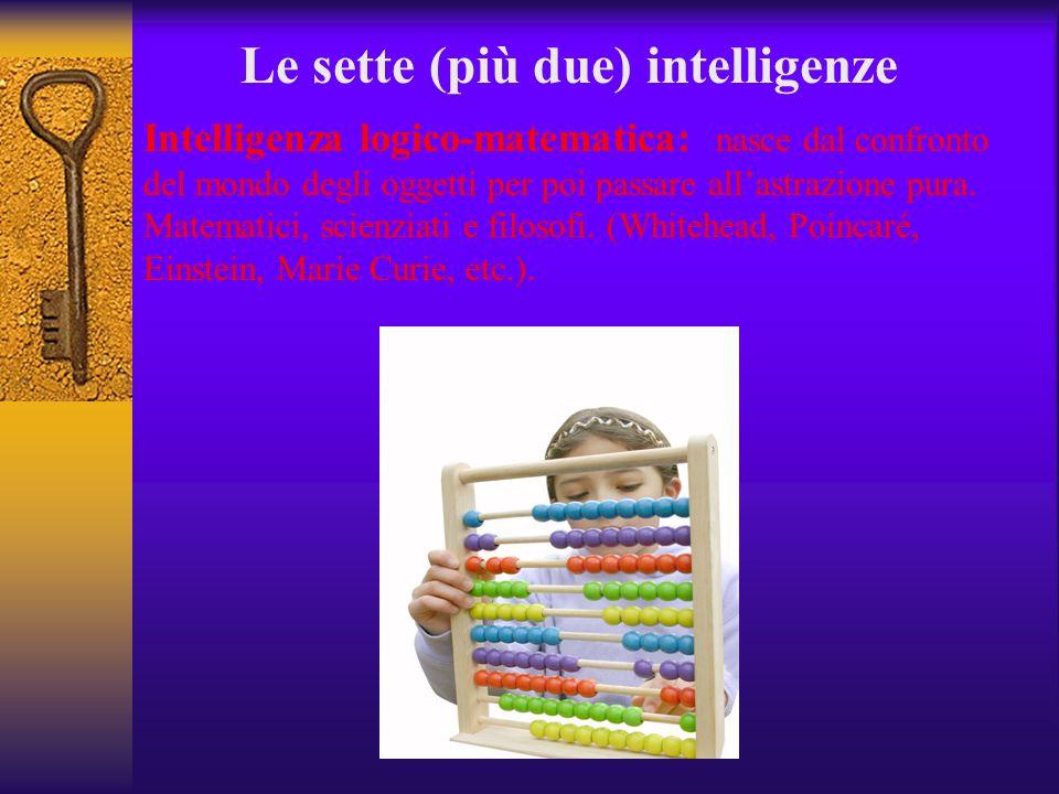 Le sette (più due) intelligenze Intelligenza logico-matematica: nasce dal confronto del mondo degli oggetti per poi passare allastrazione pura. Matema