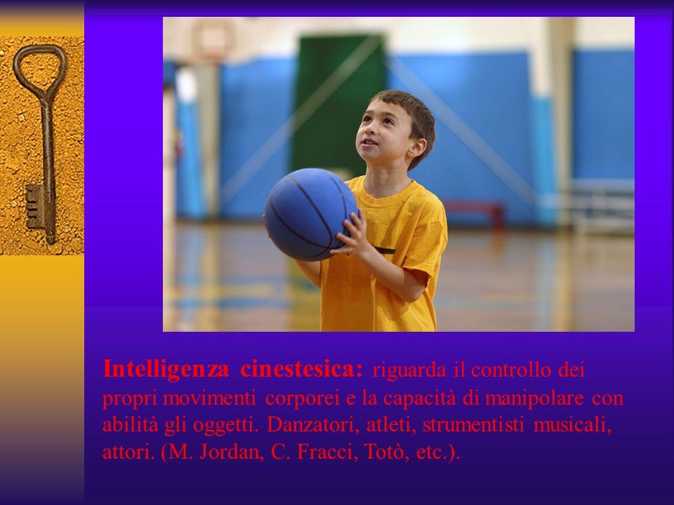 Intelligenza cinestesica: riguarda il controllo dei propri movimenti corporei e la capacità di manipolare con abilità gli oggetti. Danzatori, atleti,