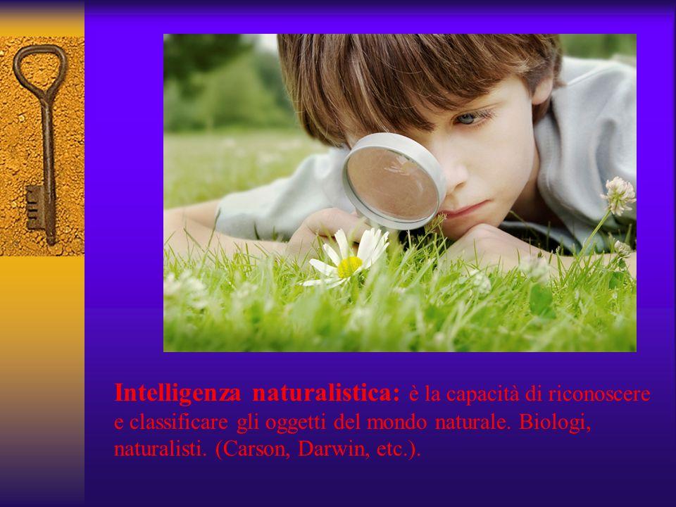 Intelligenza naturalistica: è la capacità di riconoscere e classificare gli oggetti del mondo naturale. Biologi, naturalisti. (Carson, Darwin, etc.).