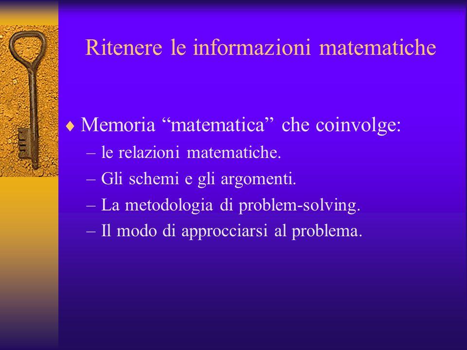 Ritenere le informazioni matematiche Memoria matematica che coinvolge: –le relazioni matematiche. –Gli schemi e gli argomenti. –La metodologia di prob