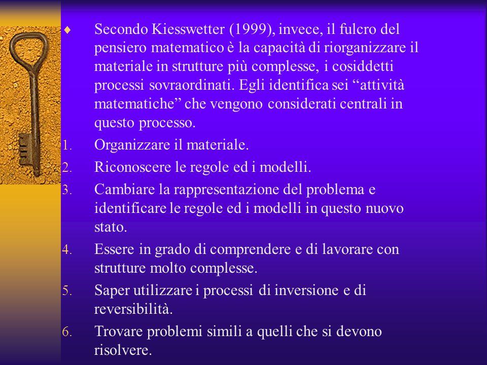 Secondo Kiesswetter (1999), invece, il fulcro del pensiero matematico è la capacità di riorganizzare il materiale in strutture più complesse, i cosidd