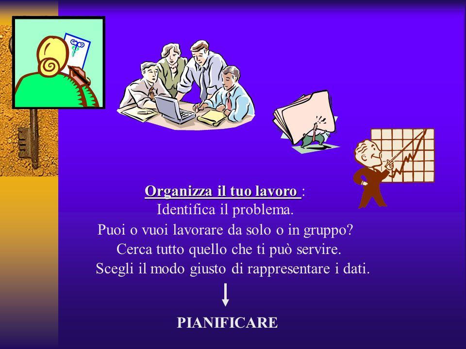 Organizza il tuo lavoro Organizza il tuo lavoro : Identifica il problema. Cerca tutto quello che ti può servire. Puoi o vuoi lavorare da solo o in gru