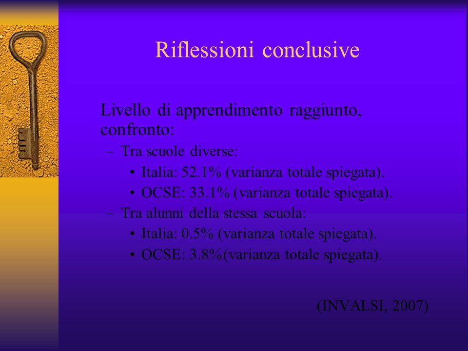 Riflessioni conclusive Livello di apprendimento raggiunto, confronto: –Tra scuole diverse: Italia: 52.1% (varianza totale spiegata). OCSE: 33.1% (vari