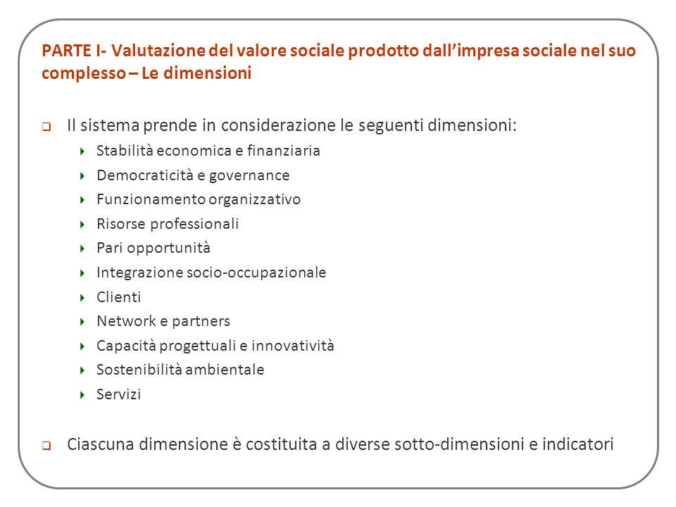PARTE I- Valutazione del valore sociale prodotto dallimpresa sociale nel suo complesso – Le dimensioni Il sistema prende in considerazione le seguenti