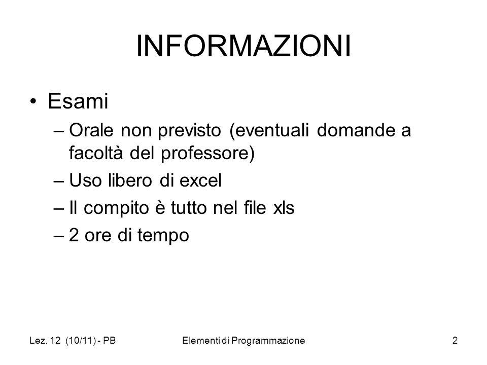 Lez. 12 (10/11) - PBElementi di Programmazione2 INFORMAZIONI Esami –Orale non previsto (eventuali domande a facoltà del professore) –Uso libero di exc