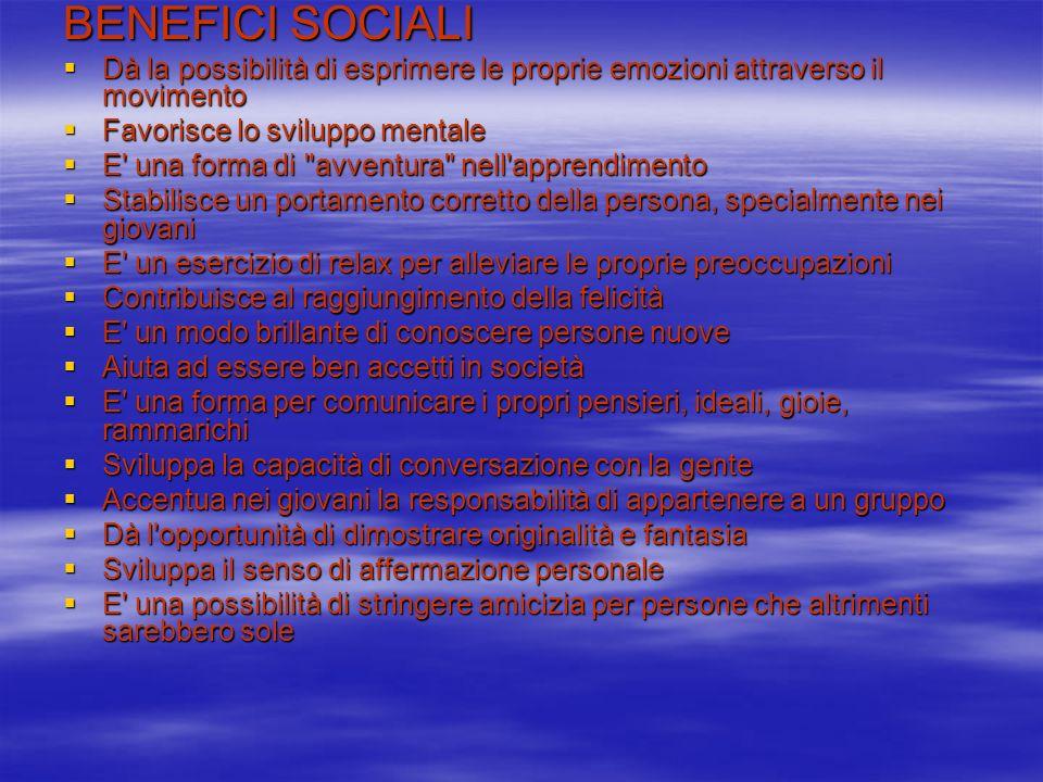 BENEFICI SOCIALI Dà la possibilità di esprimere le proprie emozioni attraverso il movimento Dà la possibilità di esprimere le proprie emozioni attrave