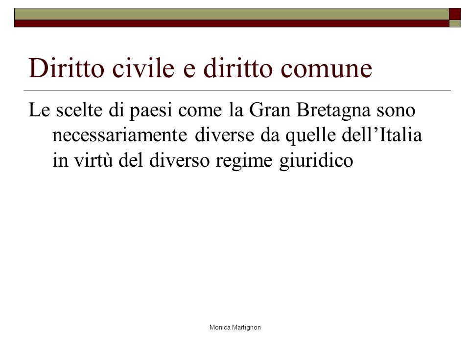 Monica Martignon Diritto civile e diritto comune Le scelte di paesi come la Gran Bretagna sono necessariamente diverse da quelle dellItalia in virtù del diverso regime giuridico
