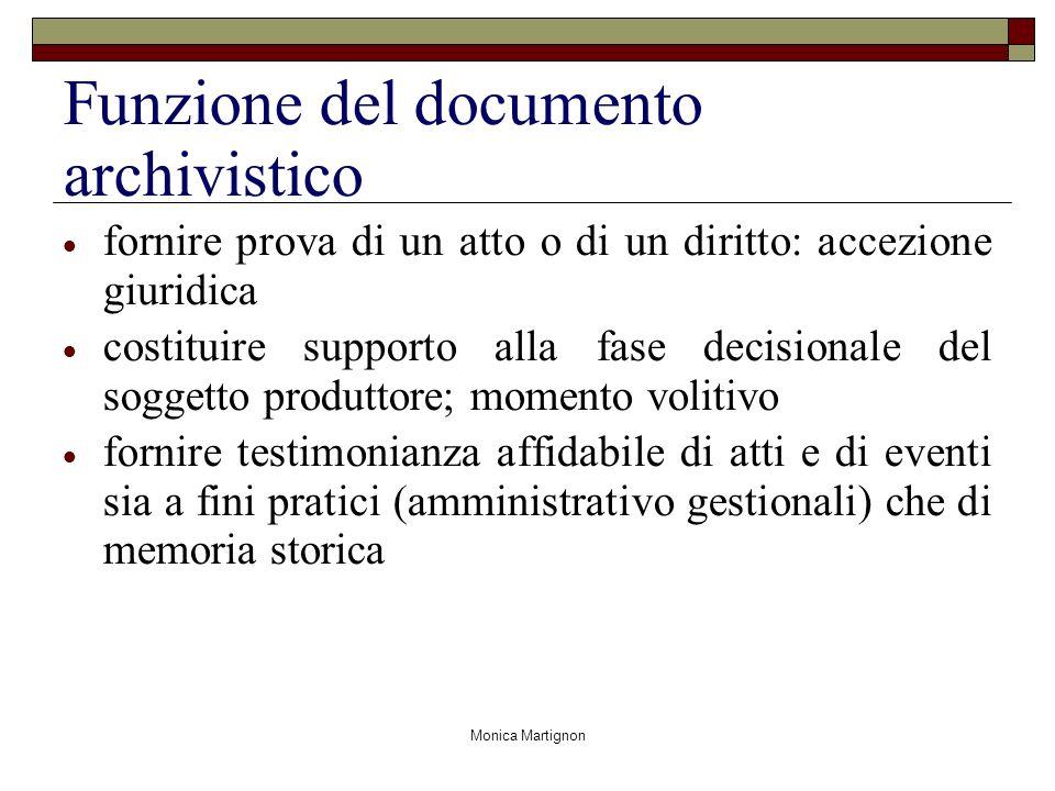 Monica Martignon Funzione del documento archivistico fornire prova di un atto o di un diritto: accezione giuridica costituire supporto alla fase decis