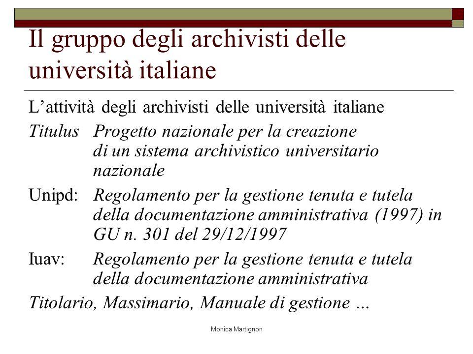 Monica Martignon Il gruppo degli archivisti delle università italiane Lattività degli archivisti delle università italiane Titulus Progetto nazionale