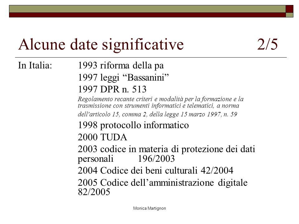 Monica Martignon Alcune date significative 2/5 In Italia: 1993 riforma della pa 1997 leggi Bassanini 1997 DPR n. 513 Regolamento recante criteri e mod