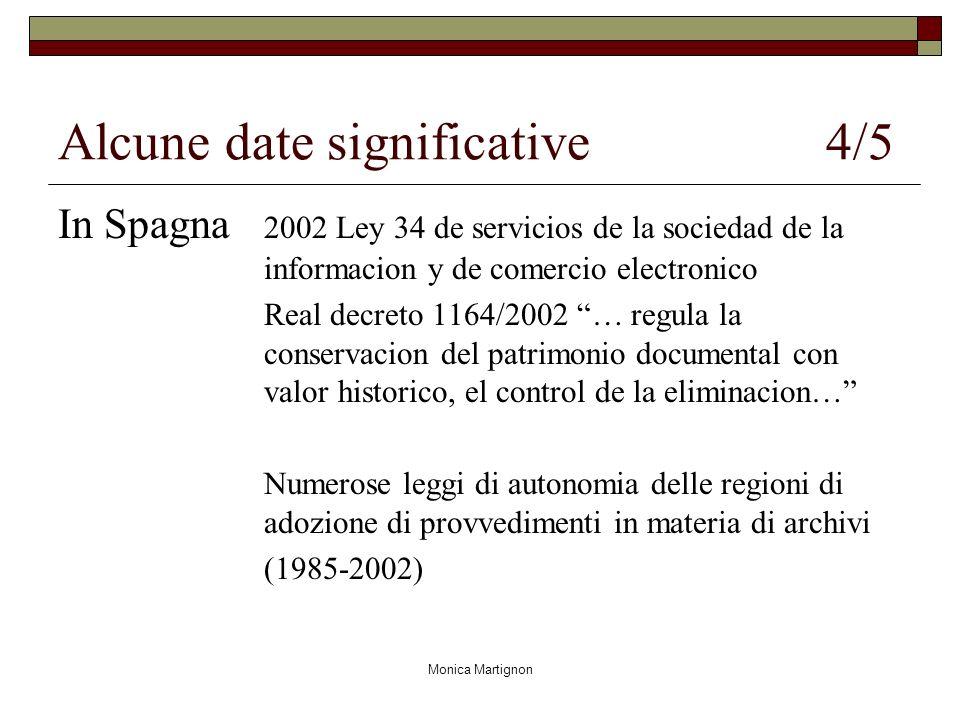 Monica Martignon Alcune date significative 4/5 In Spagna 2002 Ley 34 de servicios de la sociedad de la informacion y de comercio electronico Real decr