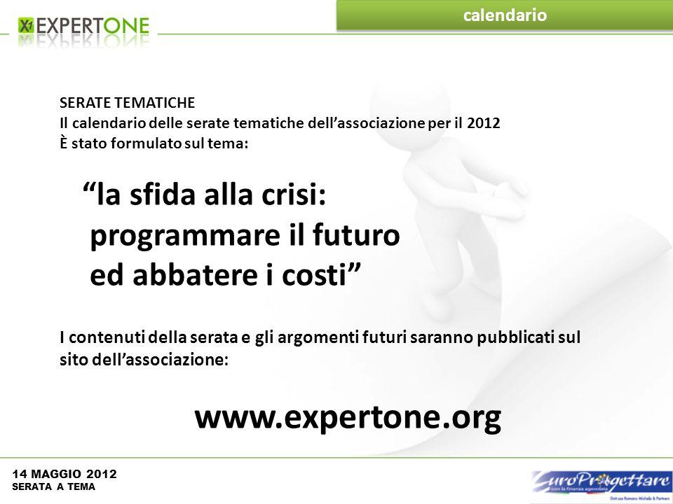 calendario SERATE TEMATICHE Il calendario delle serate tematiche dellassociazione per il 2012 È stato formulato sul tema: la sfida alla crisi: program