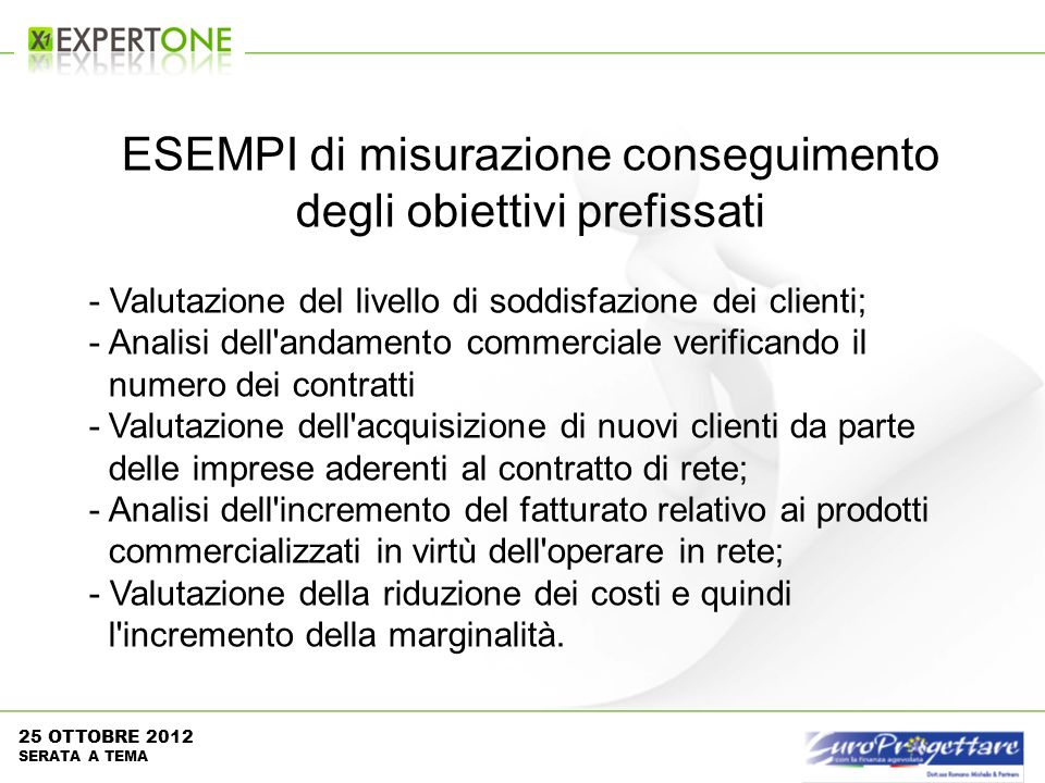 ESEMPI di misurazione conseguimento degli obiettivi prefissati - Valutazione del livello di soddisfazione dei clienti; -Analisi dell'andamento commerc