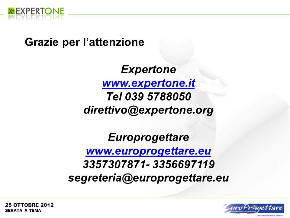 Grazie per lattenzione Expertone www.expertone.it Tel 039 5788050 direttivo@expertone.org Europrogettare www.europrogettare.eu 3357307871- 3356697119