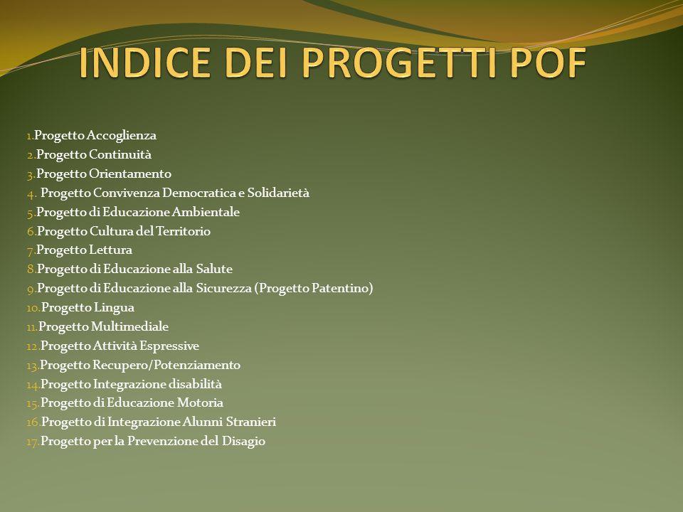 1. Progetto Accoglienza 2. Progetto Continuità 3. Progetto Orientamento 4. Progetto Convivenza Democratica e Solidarietà 5. Progetto di Educazione Amb