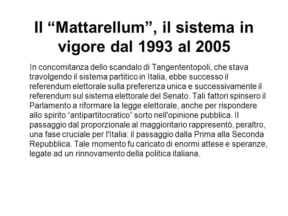 Il Mattarellum, il sistema in vigore dal 1993 al 2005 In concomitanza dello scandalo di Tangententopoli, che stava travolgendo il sistema partitico in