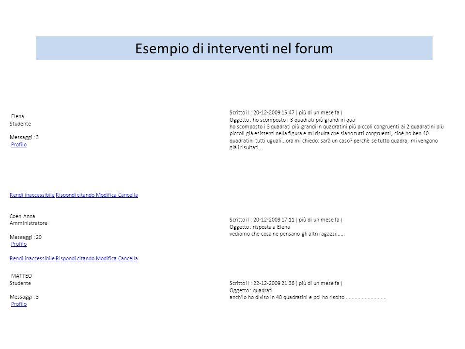 Esempio di interventi nel forum Elena Studente Messaggi : 3 Profilo Scritto il : 20-12-2009 15:47 ( più di un mese fa ) Oggetto : ho scomposto i 3 qua
