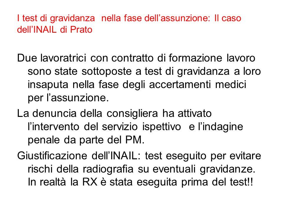 I test di gravidanza nella fase dellassunzione: Il caso dellINAIL di Prato Due lavoratrici con contratto di formazione lavoro sono state sottoposte a