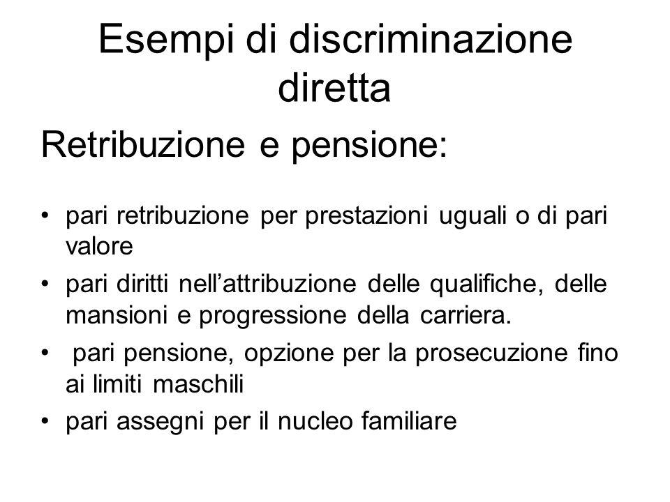 Esempi di discriminazione diretta Retribuzione e pensione: pari retribuzione per prestazioni uguali o di pari valore pari diritti nellattribuzione del