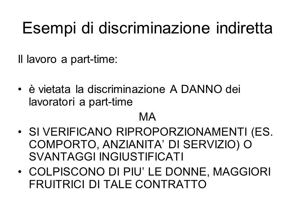 Esempi di discriminazione indiretta Il lavoro a part-time: è vietata la discriminazione A DANNO dei lavoratori a part-time MA SI VERIFICANO RIPROPORZI