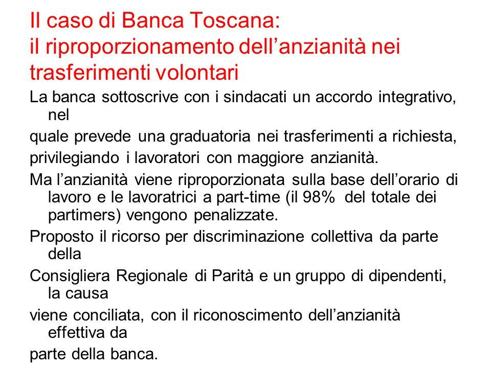 Il caso di Banca Toscana: il riproporzionamento dellanzianità nei trasferimenti volontari La banca sottoscrive con i sindacati un accordo integrativo,
