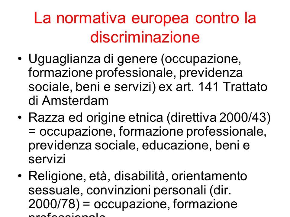La normativa europea contro la discriminazione Uguaglianza di genere (occupazione, formazione professionale, previdenza sociale, beni e servizi) ex ar
