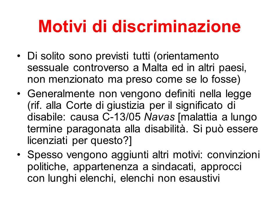 Motivi di discriminazione Di solito sono previsti tutti (orientamento sessuale controverso a Malta ed in altri paesi, non menzionato ma preso come se
