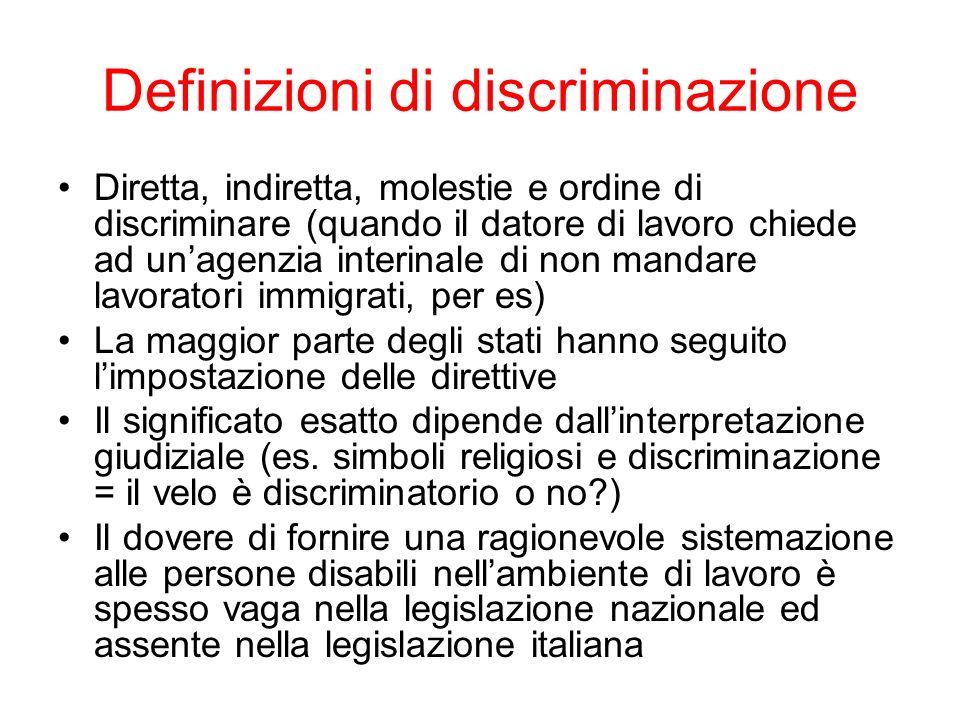 Definizioni di discriminazione Diretta, indiretta, molestie e ordine di discriminare (quando il datore di lavoro chiede ad unagenzia interinale di non