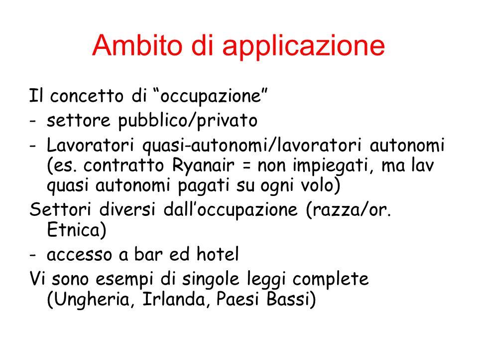 Ambito di applicazione Il concetto di occupazione -settore pubblico/privato -Lavoratori quasi-autonomi/lavoratori autonomi (es. contratto Ryanair = no