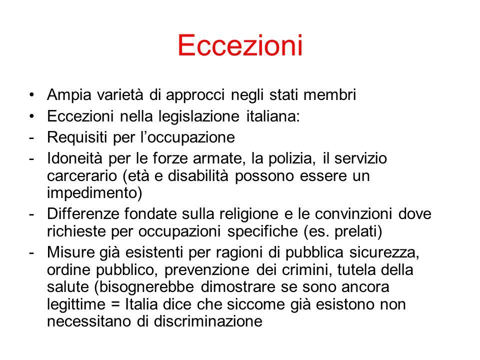 Eccezioni Ampia varietà di approcci negli stati membri Eccezioni nella legislazione italiana: -Requisiti per loccupazione -Idoneità per le forze armat
