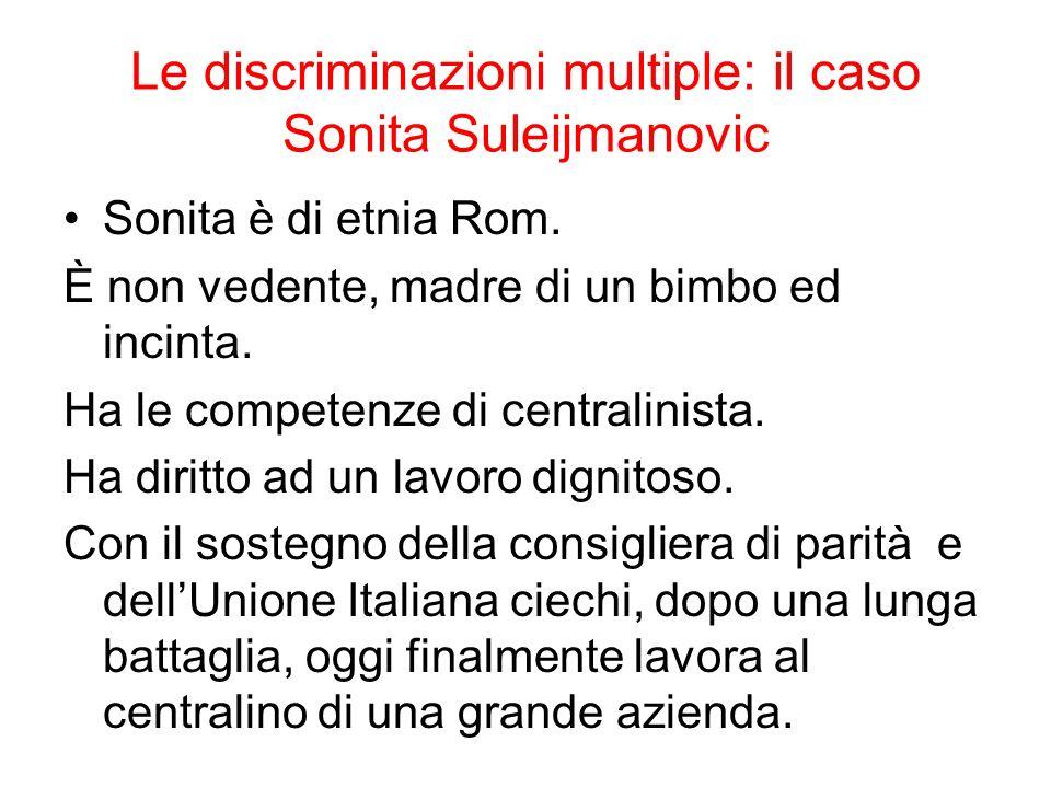Le discriminazioni multiple: il caso Sonita Suleijmanovic Sonita è di etnia Rom. È non vedente, madre di un bimbo ed incinta. Ha le competenze di cent