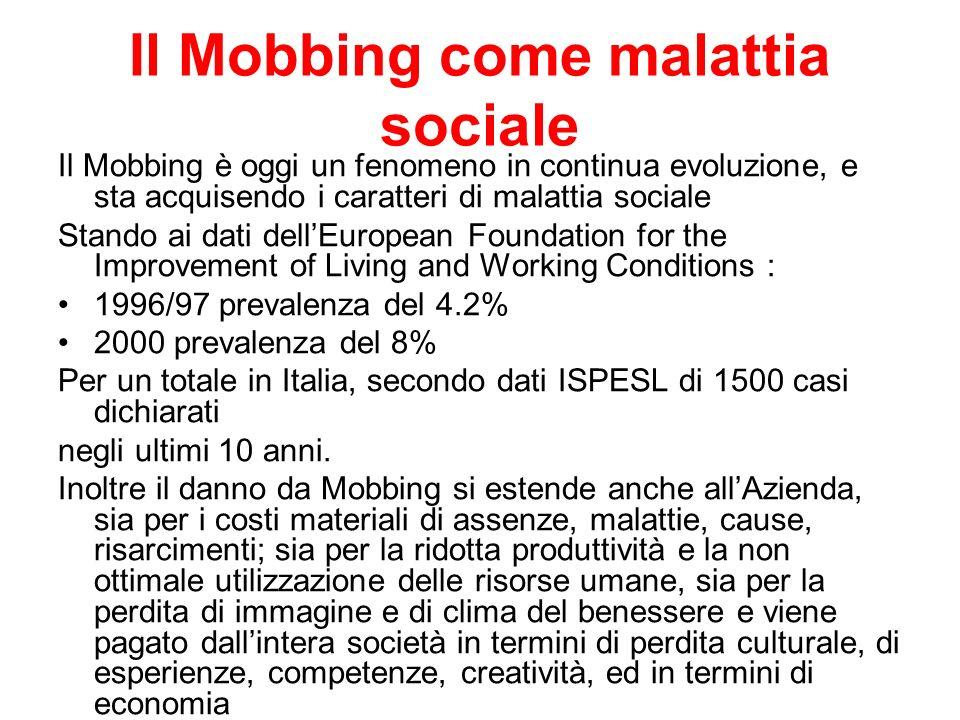 Il Mobbing come malattia sociale Il Mobbing è oggi un fenomeno in continua evoluzione, e sta acquisendo i caratteri di malattia sociale Stando ai dati