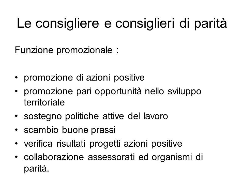 Le consigliere e consiglieri di parità Funzione promozionale : promozione di azioni positive promozione pari opportunità nello sviluppo territoriale s