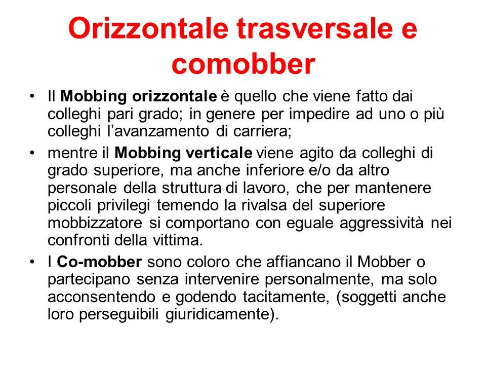 Orizzontale trasversale e comobber Il Mobbing orizzontale è quello che viene fatto dai colleghi pari grado; in genere per impedire ad uno o più colleg