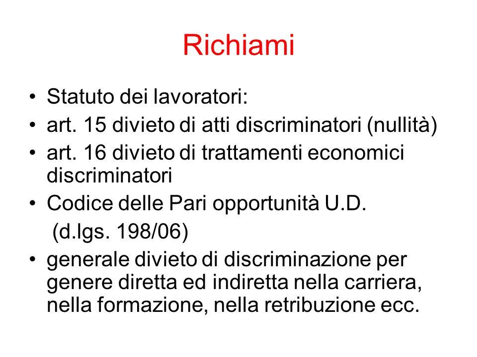 Richiami Statuto dei lavoratori: art. 15 divieto di atti discriminatori (nullità) art. 16 divieto di trattamenti economici discriminatori Codice delle