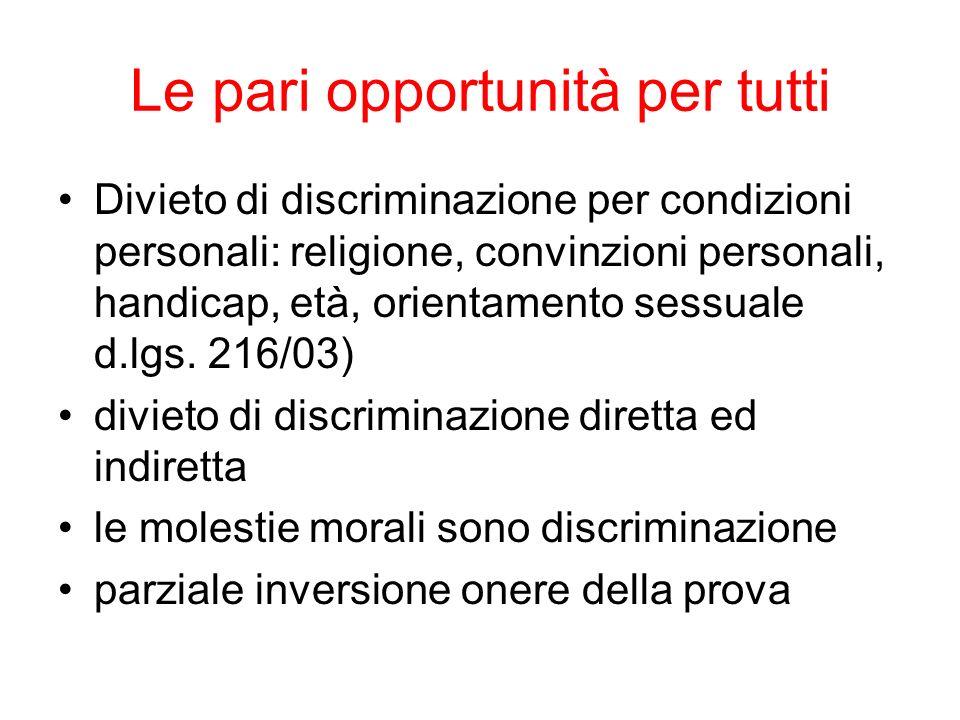 Le pari opportunità per tutti Divieto di discriminazione per condizioni personali: religione, convinzioni personali, handicap, età, orientamento sessu