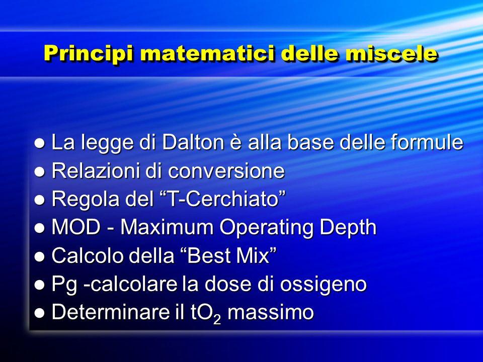 Principi matematici delle miscele Principi matematici delle miscele La legge di Dalton è alla base delle formule La legge di Dalton è alla base delle